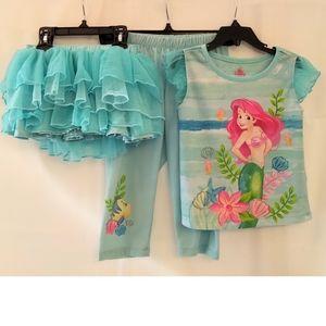 Disney Store Ariel 3-Piece Pajama Set - Size 5/6